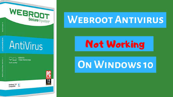 A Picture of webroot antivirus not working issue in green, blue and red colour